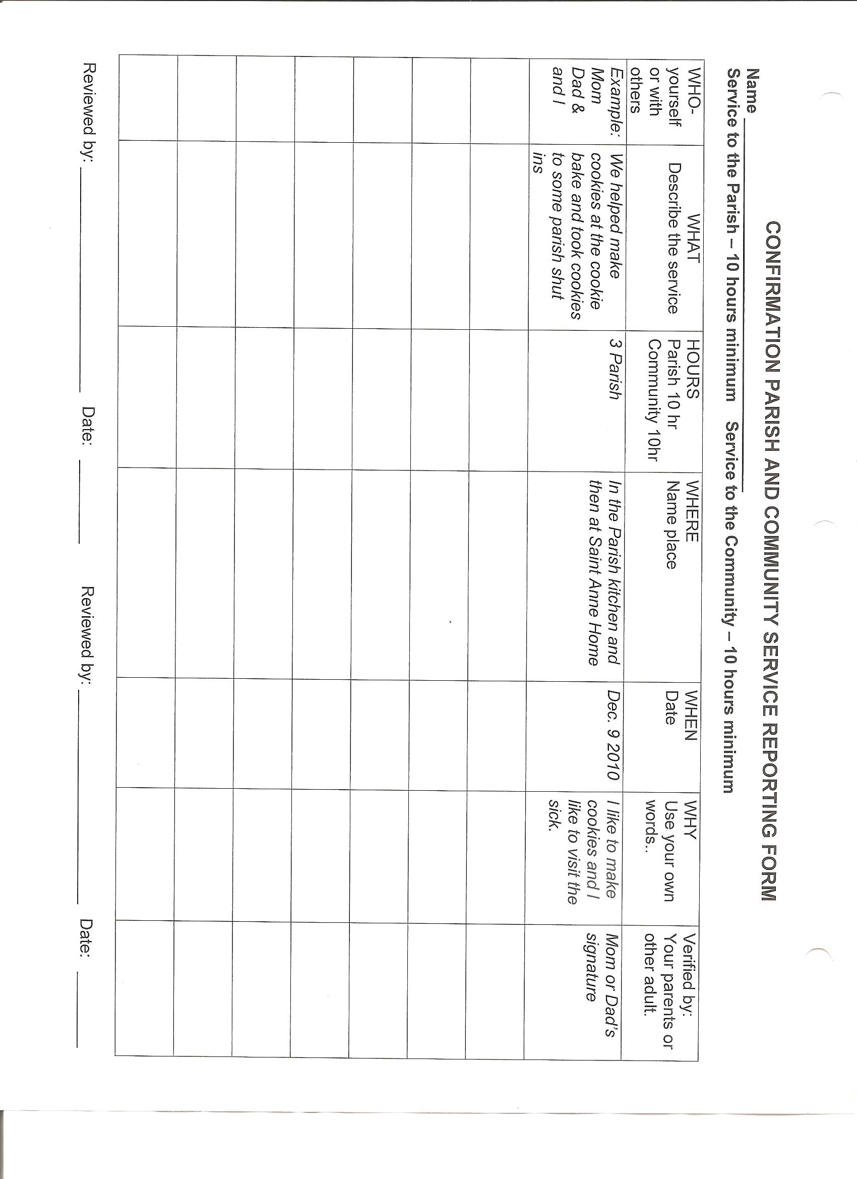 ... Community Service Reflection, Service Reporting Form.